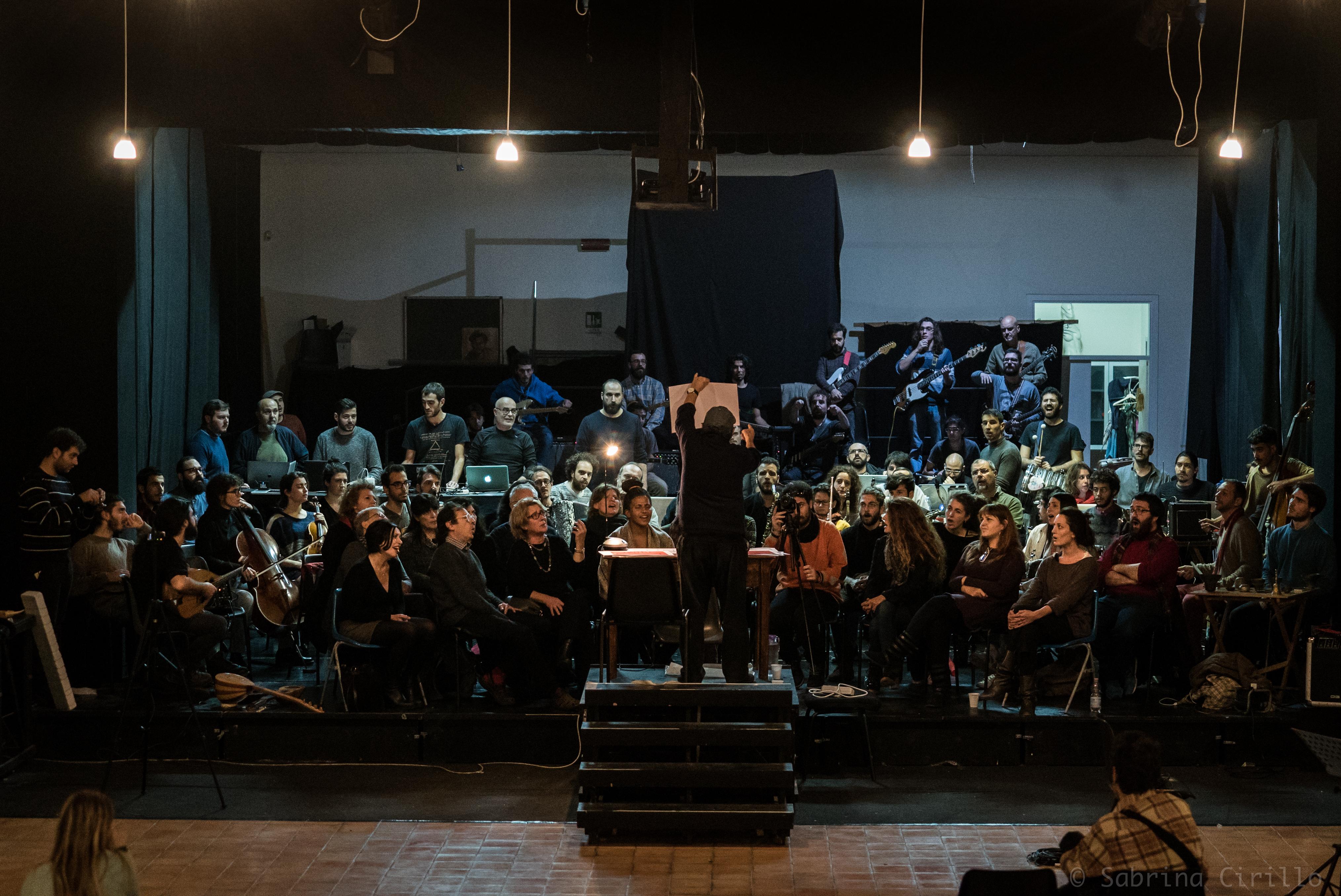Composer Alvin Curran and his improvised orchestra at l'Asilo, November 25, 2017, ph by Sabrina Cirillo