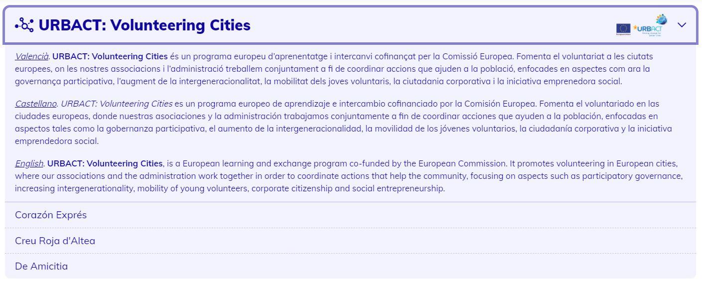 Volunteering Cities, volunteerism, good practice, Altea, associations website