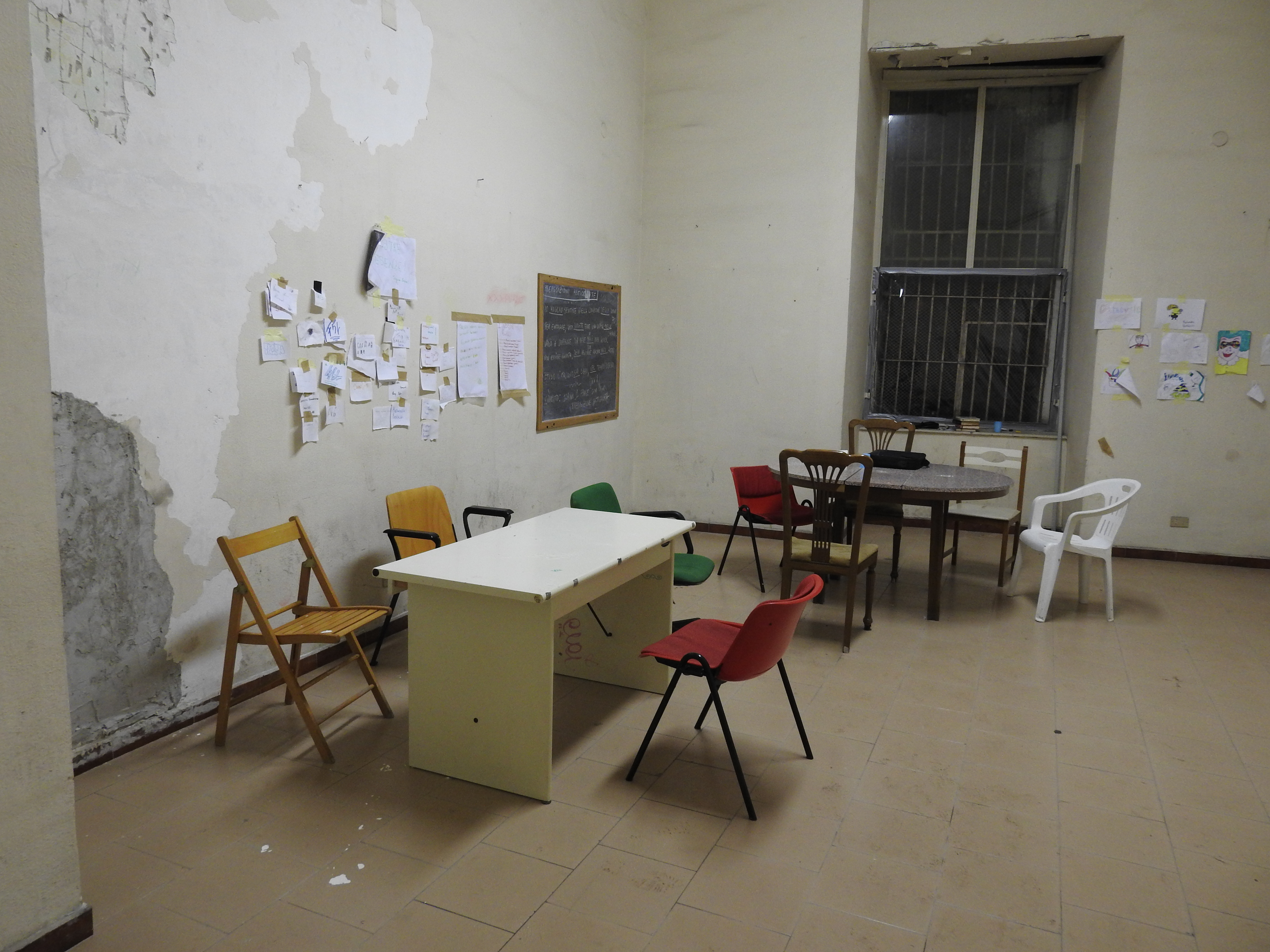 The occupation of the building and efforts to provide afternoon teaching for kids of the area