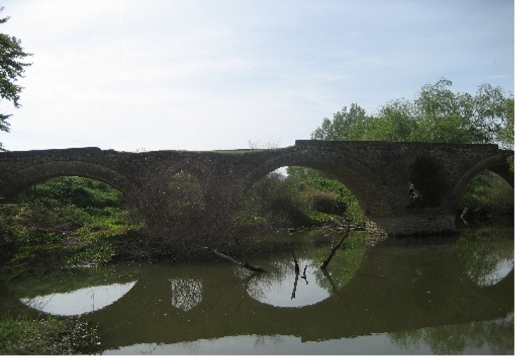 A historic bridge over a river.