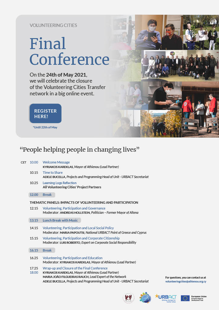 Volunteering Cities, volunteerism, good practice, Final Conference