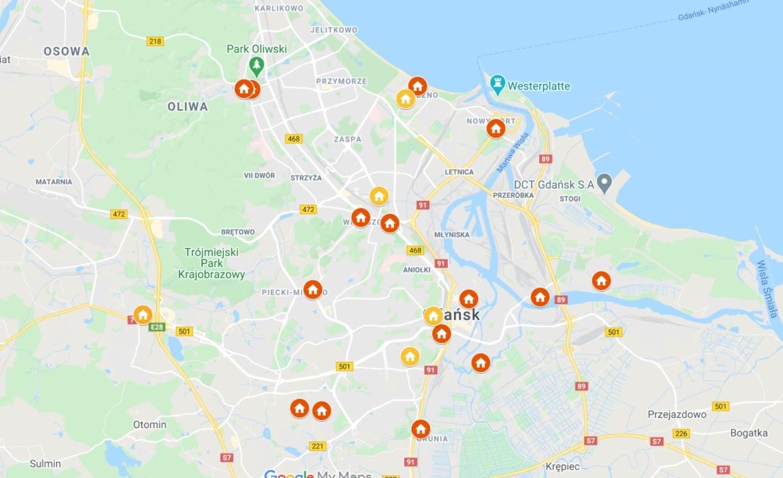 Gdansk: Map of Neighborhood Houses Network