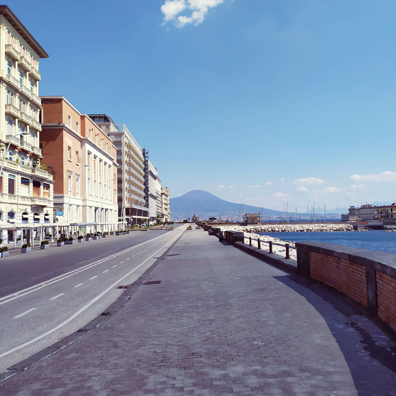 Naples waterfront, usually very crowded, deserted during the lockdown