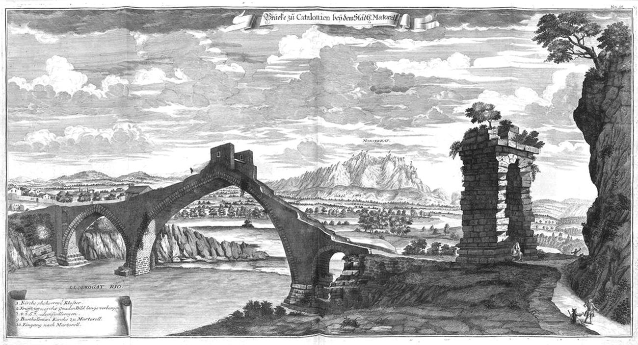 Pont del Diable in Martorell, Bernhard Christoph Breitkopf, 1735