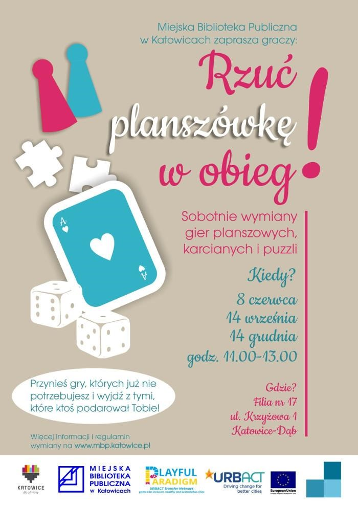 Poster - Rzuć plaszówkę w obieg (Pass your board game on) - An event by the Municipal Public Library in Katowice
