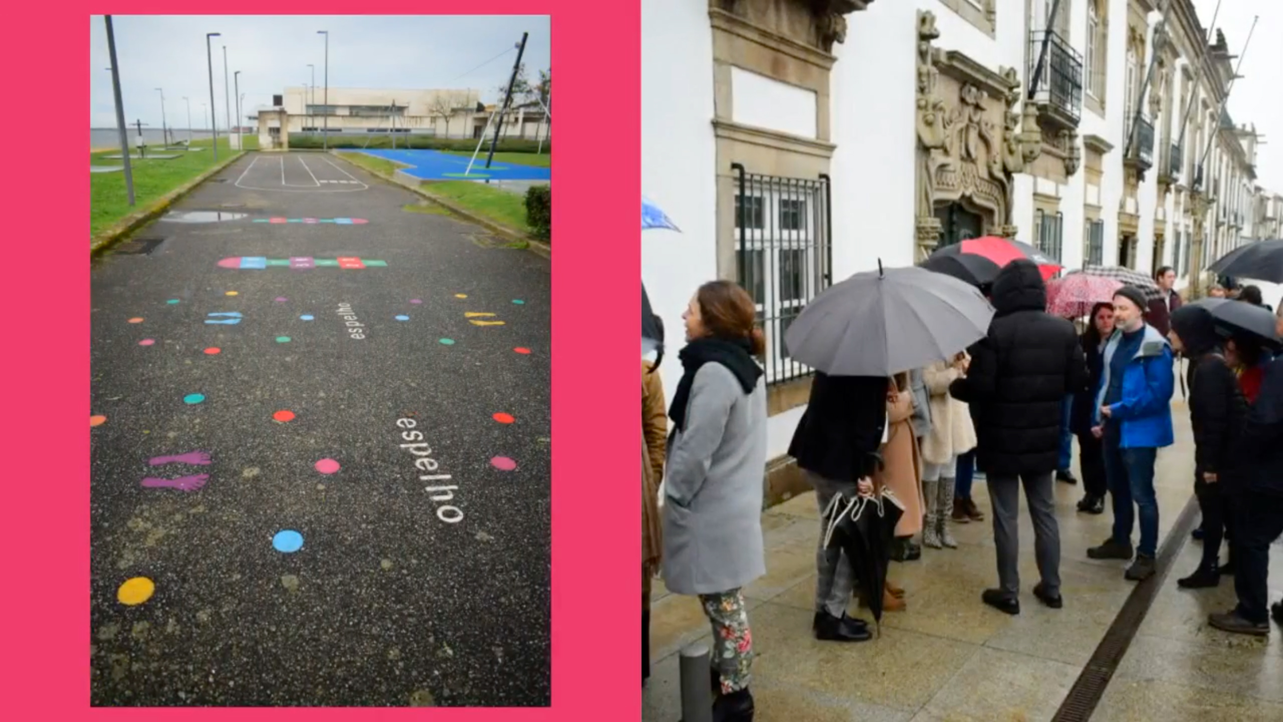 The Project Partners walk uder the rain across Viana do Castello (Portugal) and a road with playable decorations