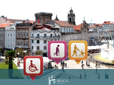 Central square of Braga's pedestrian zone offering mobility to all